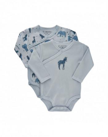 Fixoni Slå om body L/Æ 2-pak Baby Blå